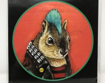 Punk Rock Squirrel - 8x8 Print