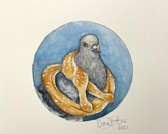 NYC Pretzel Pigeon - Watercolor Painting