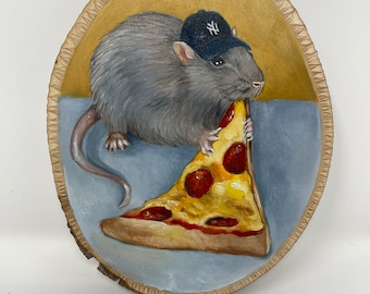 NYC Pizza Rat - Oil Painting