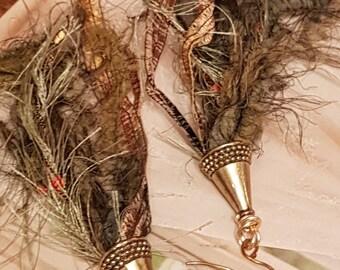 Gypsy Green Fringe Tassle Earrings
