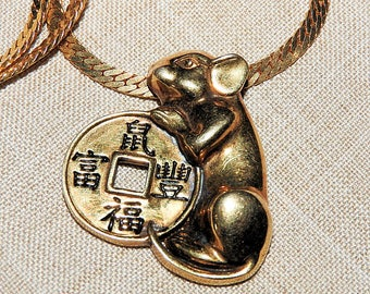 Good Luck Rat Pendant on Chain, Repurposed Jewelry, Sterling Silver Pendant on Gold Plate Chain, 19 inch Chain