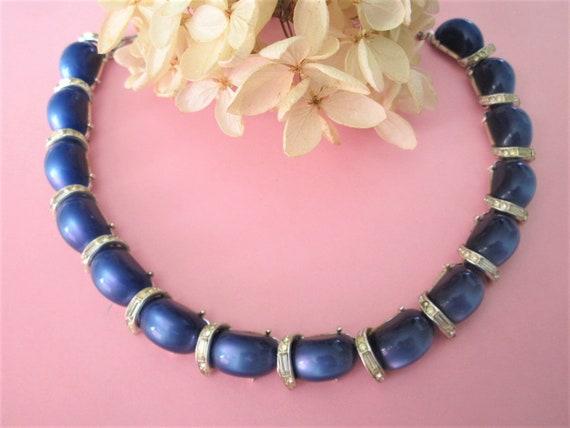Vintage Cobalt Blue Moonglow Lucite choker