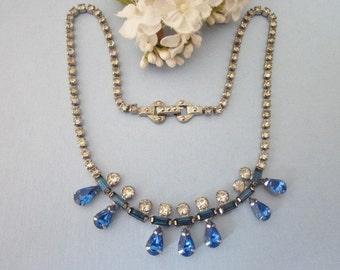 Vintage Rhinestone Necklace something blue