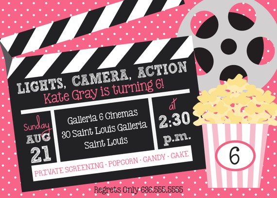 Lights camera action movie birthday party invitation stopboris Gallery