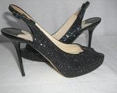 Black Glitter JIMMY CHOO Sling Back High Heel Pumps