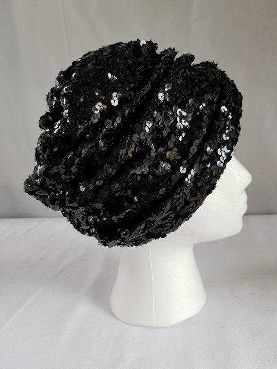 Vintage BLACK SEQUIN  Skull Cap/ Cloche /Cocktail… - image 2