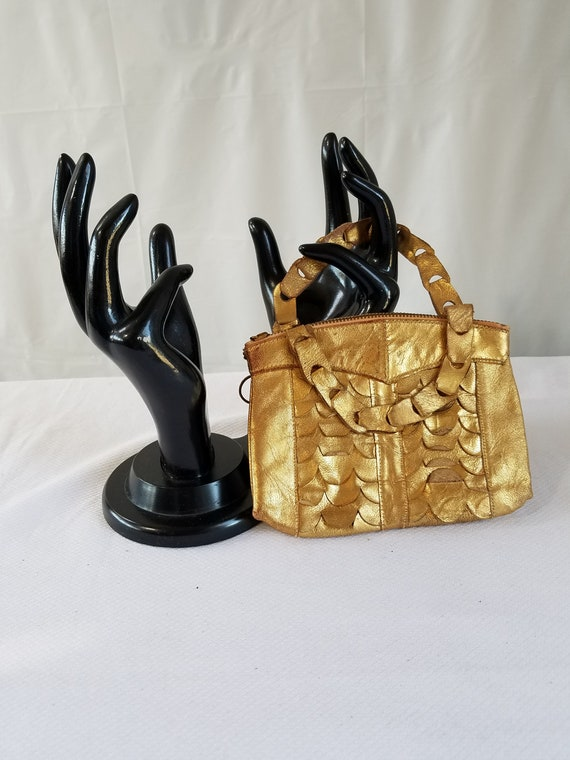 1920's-30's  GOLD LEATHER EVENING Purse