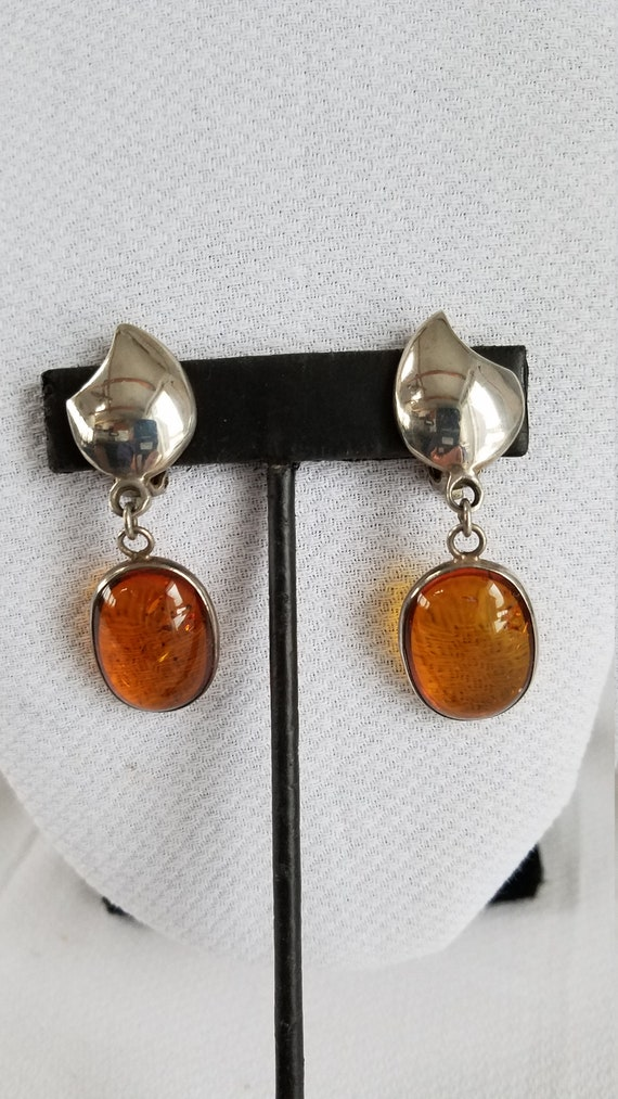 Vintage AMBER Dangle Clip On Earrings