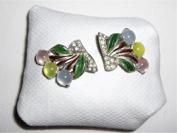 1930's-40's  MOONGLOW & ENAMEL Dress Clips