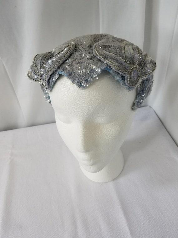 1940's-50's  Blue Sequin COCKTAIL/MINI HAT