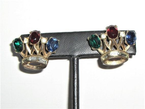 CROWN TRIFARI 1955 Crown clip earrings