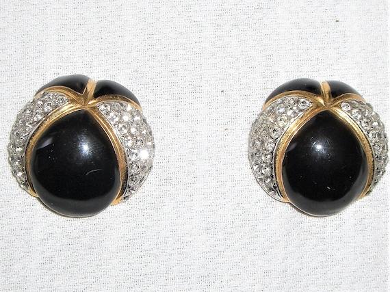 1980's -90's  ESSEX RHINESTONE & ENAMEL Clip Earri