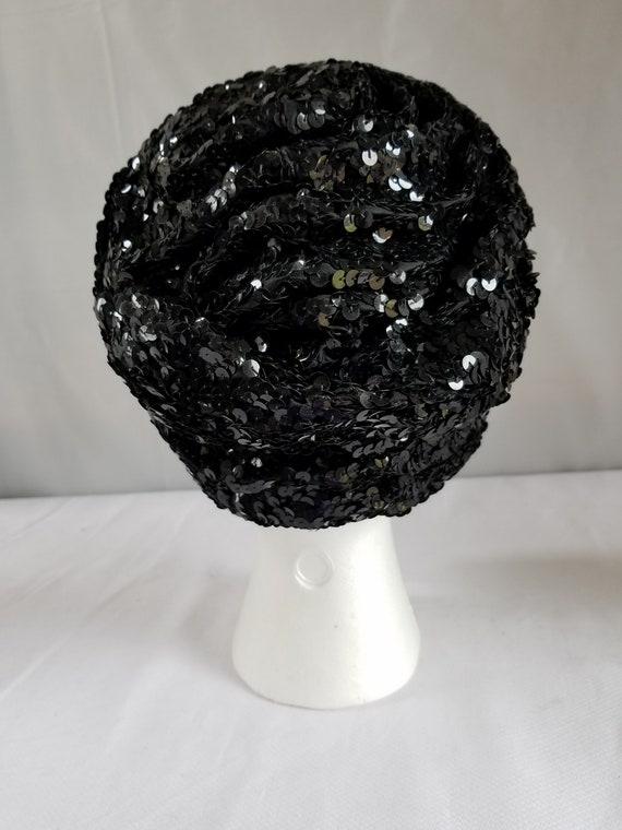 Vintage BLACK SEQUIN  Skull Cap/ Cloche /Cocktail… - image 3