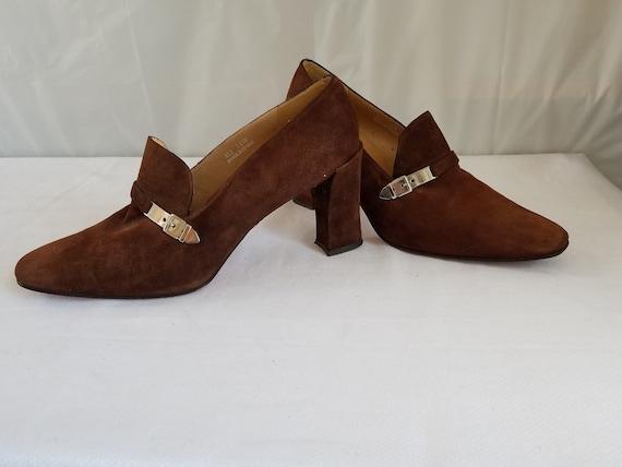 1980's-90's RALPH LAUREN Suede Slip on PUMPS - image 8