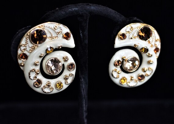 Blanca 1980's enamel & rhinestone clip earrings