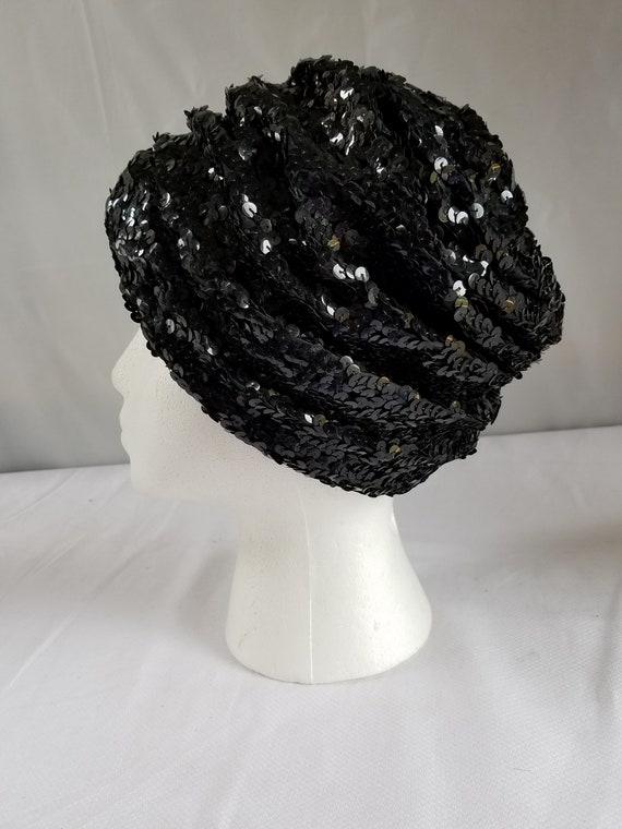 Vintage BLACK SEQUIN  Skull Cap/ Cloche /Cocktail… - image 4