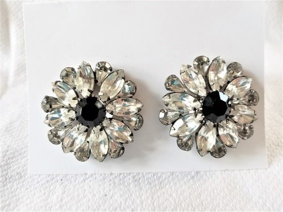Vintage 1990 Vintage Floral Picture Clip Earrings Picture Under Glass Rhinestone Dangles