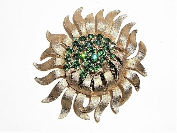 TRIFARI  1950's - 60's Green Rhinestone Flower Bur