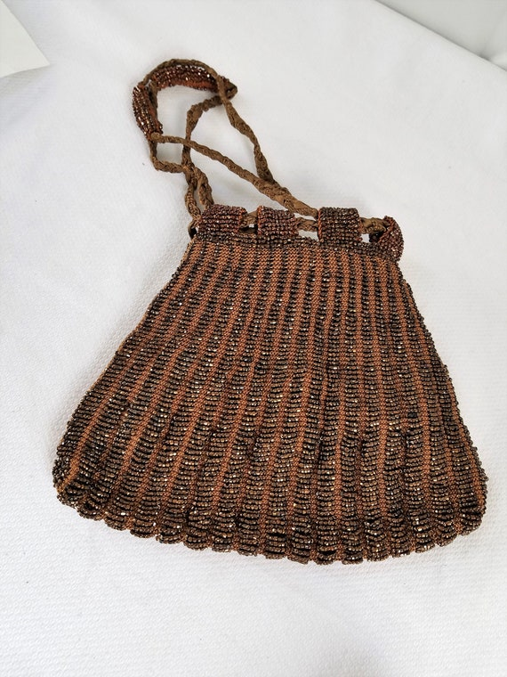 1920's-1930's  BEADED DRAWSTRING BAG