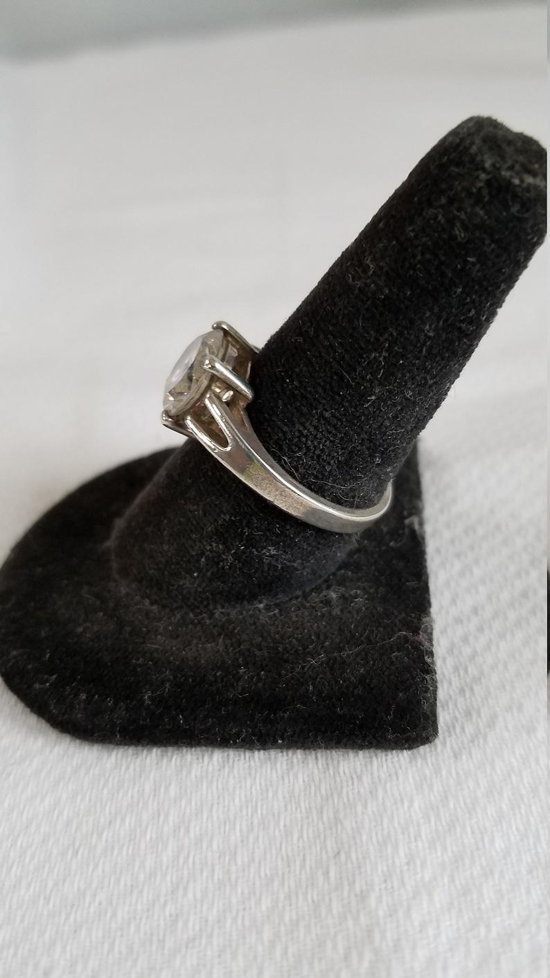 1980/'s-90/'s  Round Brilliant Cut Solitare CUBIC ZIRCONIA Sterling RING