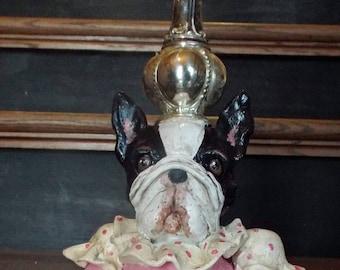 Folk Art Boston Terrier Dog Queen Art Doll Vintage Nostalgic STyle