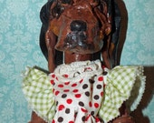Vintage Fol Art Blood Hound Dog Clothes pin like Wood Clay Primitive Doll OOak Whimsical