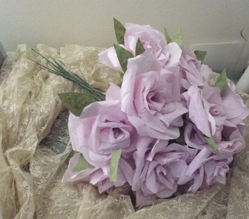 Shabby Hand Wrapped Roses Soft Pastel Lavender 12 Rose Wedding Decor