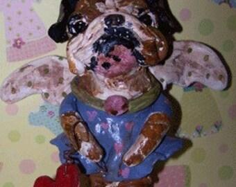 Whimsical Folk Art English Bulldog Dog Angel w Heart