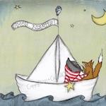 Art Print, Boy Nursery Art, Pirate, Nautical, Boy, Fox, and Paper Boat 8 x 10 inch art print