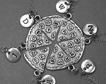 Pizza Necklace, Pizza Slice necklace, Pizza slice charm, pizza jewelry, best friend necklace, best friend gift, BFF necklace, initial charm