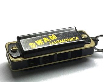 Harmonica Necklace, miniature harmonica, playable harmonica pendant, harmonica jewelry, harmonica charm, black miniature harmonica pendant