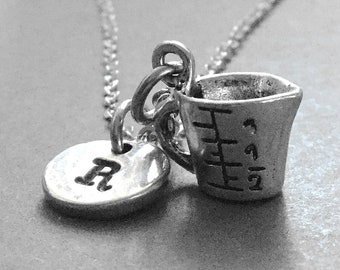 Measuring cup necklace, measuring cup charm, measuring cup pendant, baking necklace, initial hand stamped, personalized charm, monogram