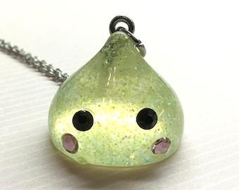 Kawaii Raindrop Necklace, Yellow Kawaii Candy Drop, Candy Drop Charm, Kawaii Glitter Water Drop, Kawaii Glitter Raindrop, Kawaii Gifts