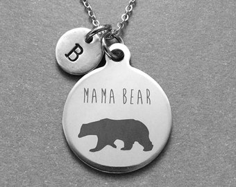 Mama Bear Necklace, Mama Bear Charm, Mama Bear Pendant, Personalized Mama Bear necklace, Initial Necklace, Monogram Necklace, Gift for Mom