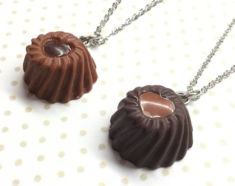 Cute chocolate bonbon charm, milk chocolate truffle necklace, kawaii chocolate bar, kawaii food charm, miniature candy charm, kawaii gift