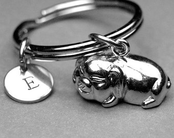 Pig keychain, pig charm, Pot belly pig keychain, potbelly pig charm, potbellied pig, shiny silver plated, personalized, initial keychain