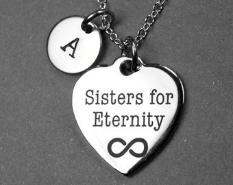 Sisters for Eternity Necklace, Eternity heart necklace, message heart, gift for sisters, best friends necklace, gift for her, initial charm