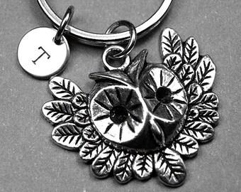 Owl keychain, owl charm, bird keychain, friendship keychain, personalized keychain, initial keychain, customized keychain, monogram