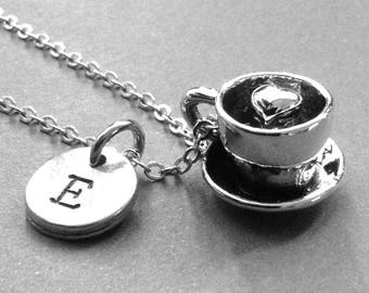 Coffee Cup Necklace, Coffee Cup Charm, Coffee Cup Heart Necklace, Personalized, hand stamped, Initial charm, coffee lover gift, monogram