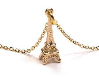 Eiffel Tower Necklace, Gold plated Eiffel Tower Necklace, Eiffel Tower Pendant, Eiffel Tower Charm, French Necklace, Paris Necklace