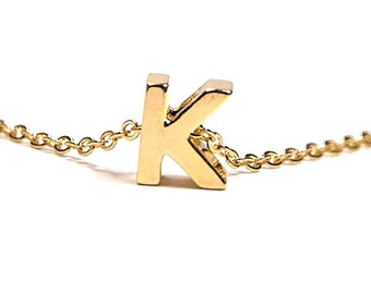 Personalized initial necklace, uppercase letter, Initial Necklace, Gold plated Uppercase initial, Monogram initial Necklace, Gold letter