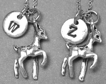 Best friend necklace, deer necklace, deer jewelry, bff necklace, sister necklace, friendship jewelry, personalized necklace, initial charm