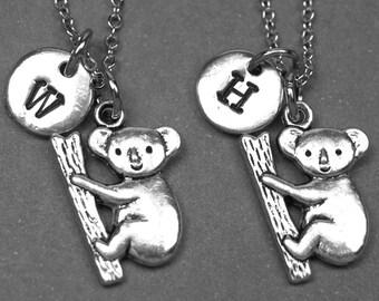 Best friend necklace, koala bear necklace, koala bear jewelry, bff necklace, animal necklace, friendship jewelry, friends necklace, initial