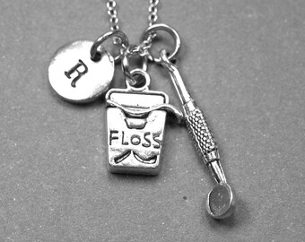 Dental floss necklace, dentist necklace, dental floss charm, dental mirror necklace, dentist mirror charm, dental hygienist, initial charm