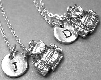 Best friend necklace, backpack necklace, knapsack necklace, bff necklace, best friend jewelry, backpack charm, personalized, initial