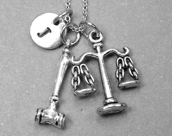 Lawyer necklace, Justice scale charm, gavel charm, Libra necklace, Libra charm, Lawyer gift, law school graduate gift, attorney gift