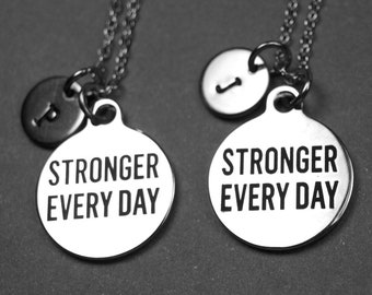 Stronger every day necklace, Stronger Everyday charm, workout necklace, Stronger necklace, Exercise jewelry, personalized necklace, monogram