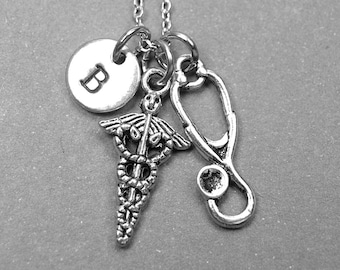Caduceus necklace, Symbol of medicine necklace, stethoscope necklace, medical symbol charm, doctor necklace, personalized, initial necklace