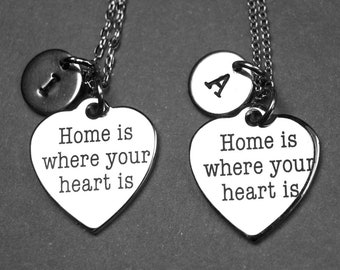 Home is where your heart is necklace, heart necklace, heart jewelry, personalized necklace, initial necklace, dainty necklace, initial charm