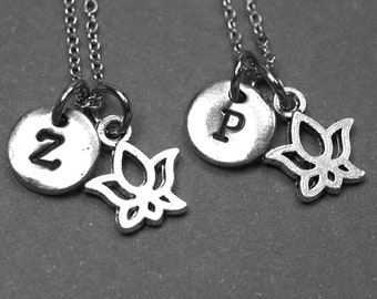 Best friend necklace, lotus flower necklace, lotus charm, friendship jewelry, BFF necklace, personalized necklace, initial necklace